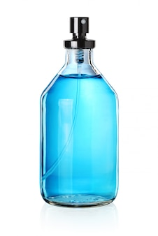 Blauwe parfumfles