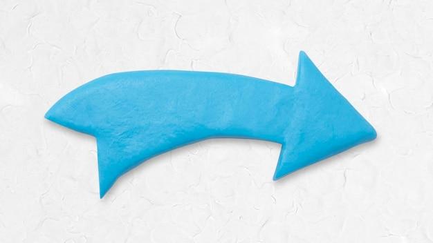 Blauwe pijl klei textuur wijzende rechterhand ambachtelijke afbeelding voor kinderen