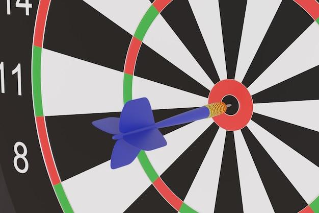 Blauwe pijl zit vast in het midden van een doelwit