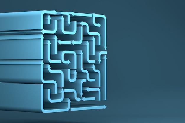 Blauwe pijlen doolhof. 3d-rendering