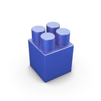 Blauwe plastic bouwstenen die op wit worden geïsoleerd. 3d-afbeelding.