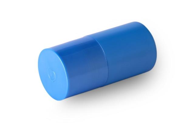 Blauwe plastic fles met de mannelijke douchegel