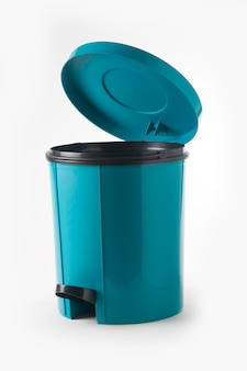 Blauwe plastic vuilnisbak