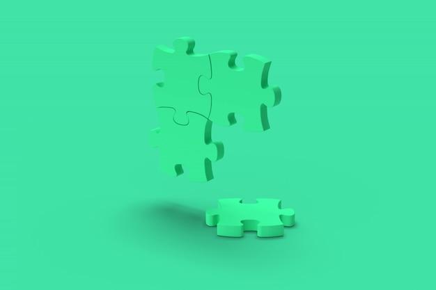 Blauwe puzzel op een groene achtergrond