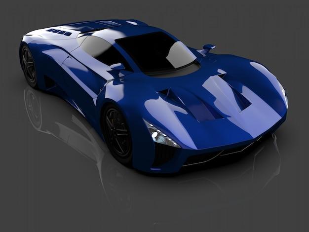 Blauwe race concept auto afbeelding van auto op grijs glanzend