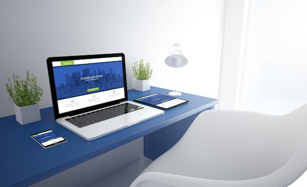 Blauwe responsieve studio met responsief ontwerp op het scherm van apparaten