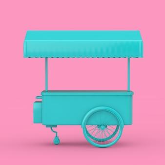 Blauwe retro ice cream trolley cart mock up duotone op een roze achtergrond. 3d-rendering