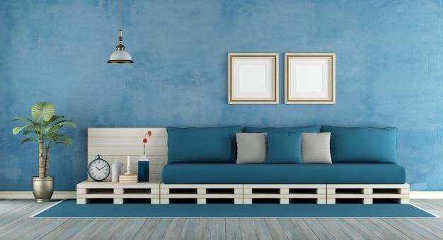 Blauwe retro woonkamer