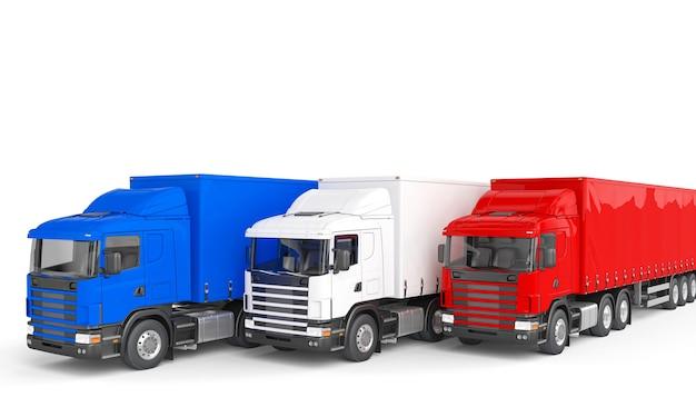 Blauwe rode en witte vrachtvrachtwagen. 3d render.