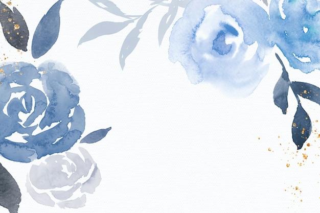 Blauwe roos frame achtergrond winter aquarel illustratie