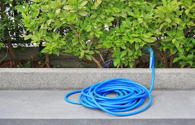 Blauwe rubberen buis voor het besproeien van planten in de tuin.