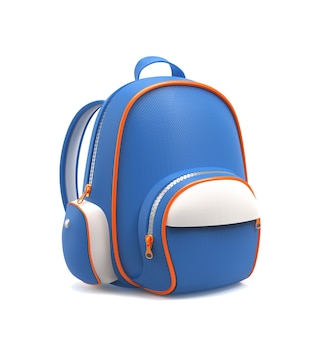 Blauwe schoolrugzak die op wit wordt geïsoleerd