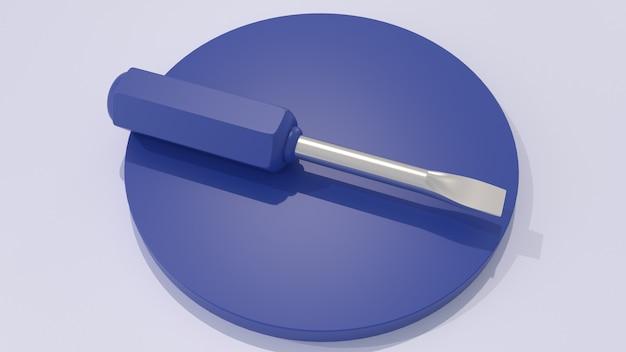 Blauwe schroevendraaier op een blauw voetstuk 3d render