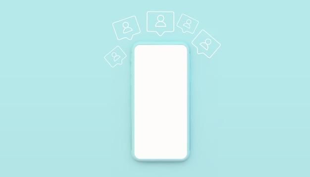 Blauwe smartphone mock up 3d-rendering met volgers pictogrammen illustratie