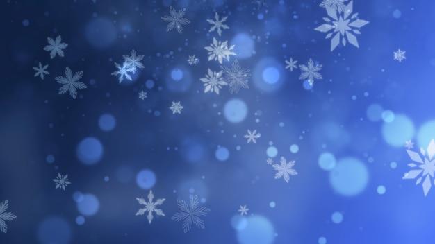 Blauwe sneeuwvlokken en abstracte glitterdeeltjes die op glanzende achtergrond vallen. luxe en elegante dynamische stijl 3d illustratie voor wintervakantie