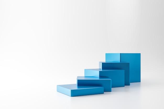 Blauwe sokkel van trappen of podium staan geïsoleerd op een witte muur met bedrijfsgroei concept. moderne blauwe ladderweergave. 3d-weergave.