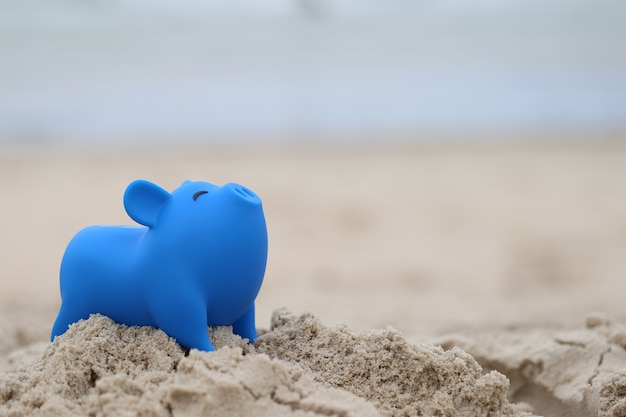 Blauwe spaarvarken op zee strand
