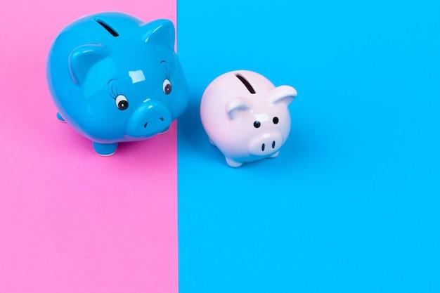 Blauwe spaarvarkenspaarpot op gekleurd helder