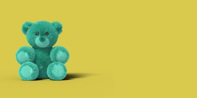 Blauwe speelgoed beer zit op de vloer. 3d renderen.