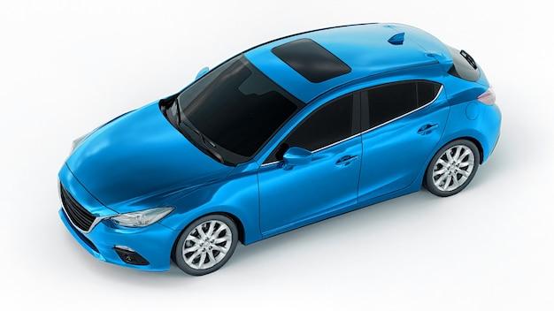 Blauwe stadsauto met blanco oppervlak voor uw creatieve ontwerp. 3d-weergave. Premium Foto