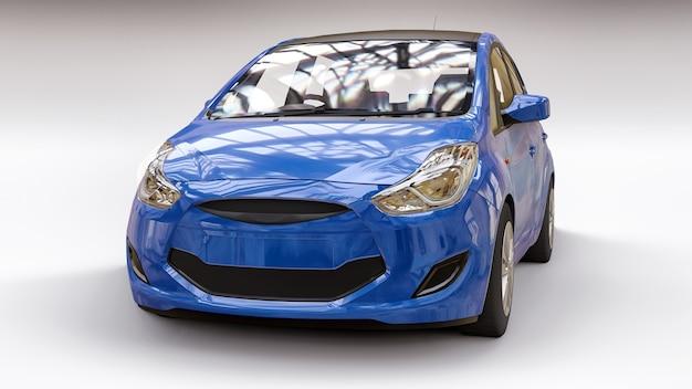Blauwe stadsauto met blanco oppervlak voor uw creatieve ontwerp. 3d-weergave.