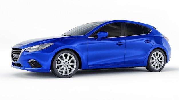 Blauwe stadsauto met leeg oppervlak voor uw creatieve ontwerp 3d-rendering