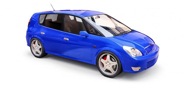 Blauwe stadsauto met lege oppervlakte voor uw creatief ontwerp. 3d illustratie
