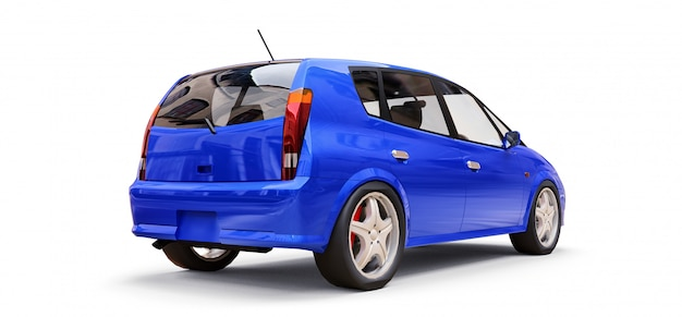 Blauwe stadsauto met lege oppervlakte voor uw creatief ontwerp
