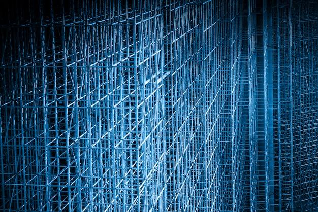 Blauwe stijl bouwplaats, structuurframe bouwen