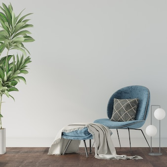 Blauwe stoel op de houten vloer