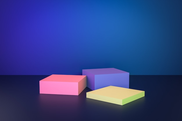 Blauwe studio achtergrond met podium voor huidige inhoud reclame banner productontwerp mockup. 3d-afbeelding