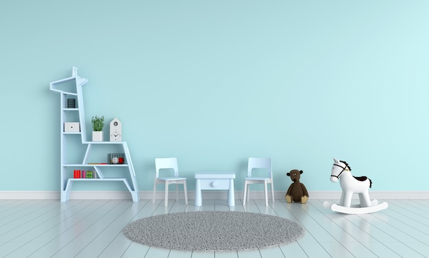Blauwe tafel en stoel in de kinderkamer voor mockup