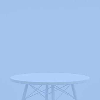 Blauwe tafel of productstandaard voor weergaveproduct op blauwe achtergrond
