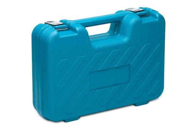 Blauwe toolbox geïsoleerd