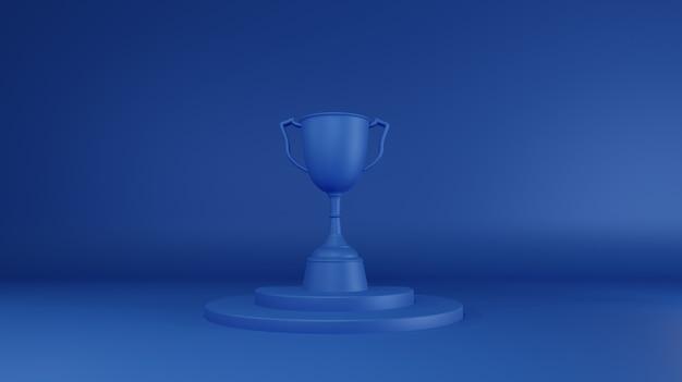Blauwe trofee-prijs. 3d-weergave.