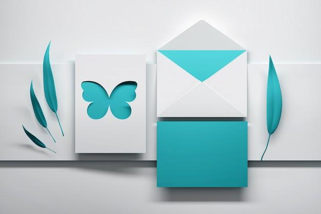 Blauwe uitnodigingskaart met vlinder en bladeren