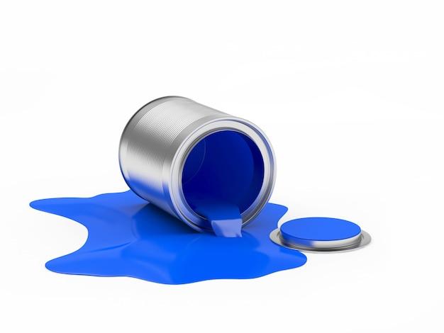 Blauwe verf gemorst uit een open blik