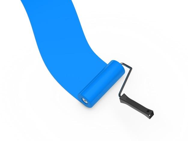 Blauwe verf roller
