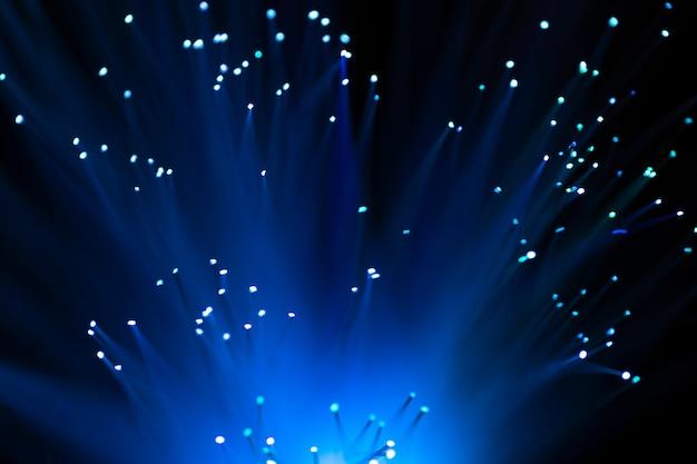 Blauwe vezeloptica lichten abstracte achtergrond