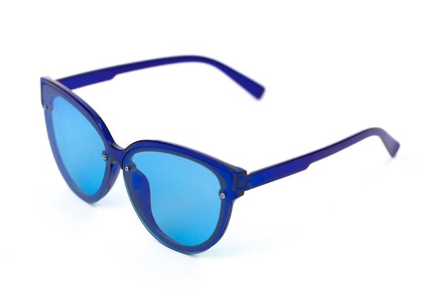 Blauwe vintage bril geïsoleerd op wit