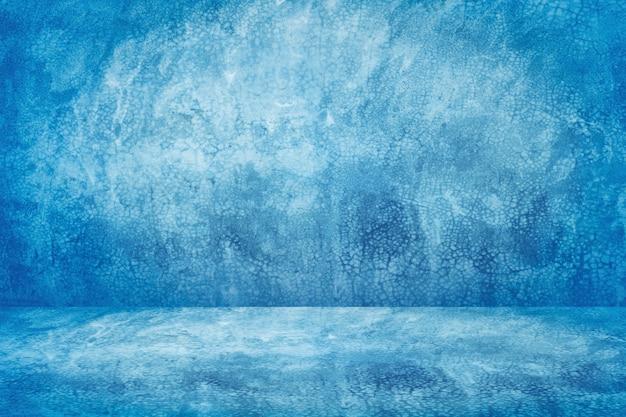 Blauwe vintage cementstudio en showroomachtergrond voor huidig product