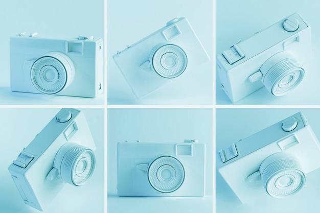 Blauwe vintage digitale camera collage
