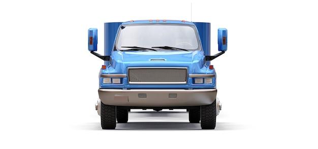 Blauwe vrachtwagen met aanhanger voor het vervoer van een raceboot op een witte achtergrond. 3d-rendering.