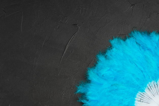 Blauwe waaier met veren