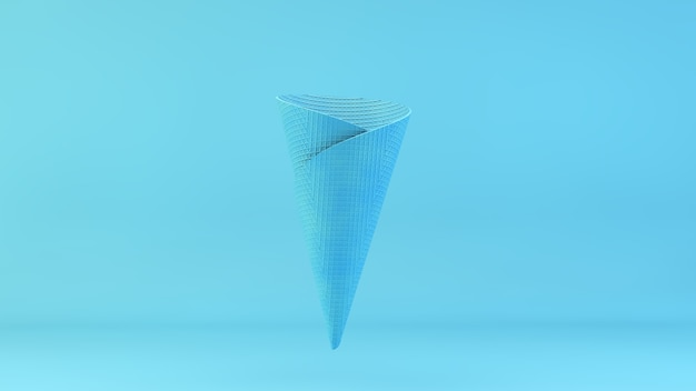Blauwe waffer ijs 3d-rendering