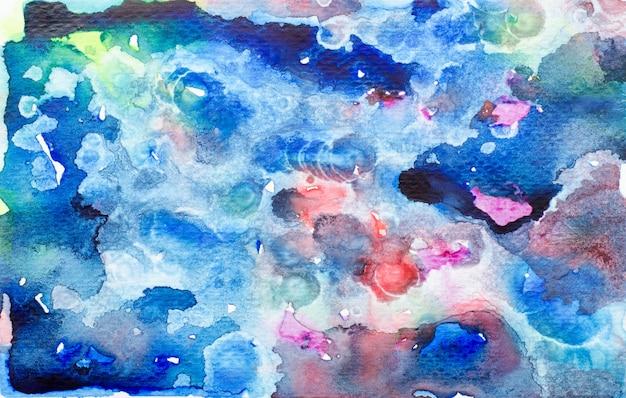 Blauwe waterverf met kleurrijke tinten verf lijn achtergrond