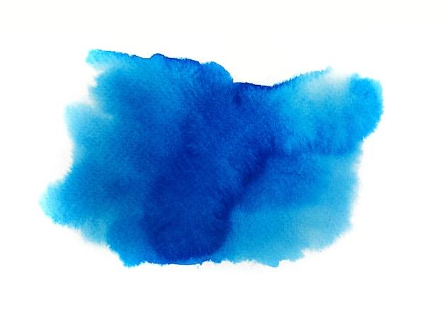 Blauwe waterverf op wit