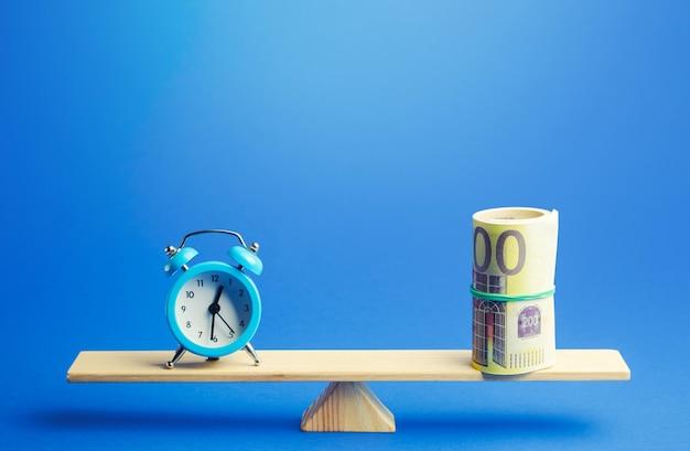 Blauwe wekker en een bundel euro op weegschaal. redelijk uurloon. rendement op investering
