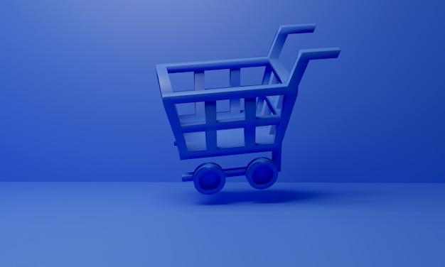 Blauwe winkelwagen vliegt met blauw oppervlak