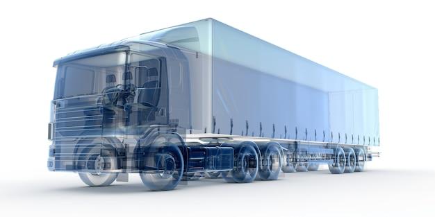 Blauwe x-ray vrachtwagen
